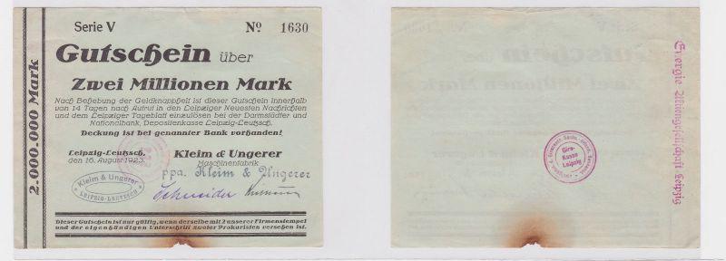 2 Mill. Mark Banknote Leipzig Leutzsch Maschinenfabrik Kleim & Ungerer (122318)