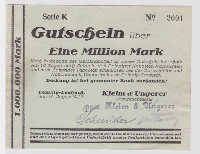 1 Mill. Mark Banknote Leipzig Leutzsch Maschinenfabrik Kleim & Ungerer (122627)