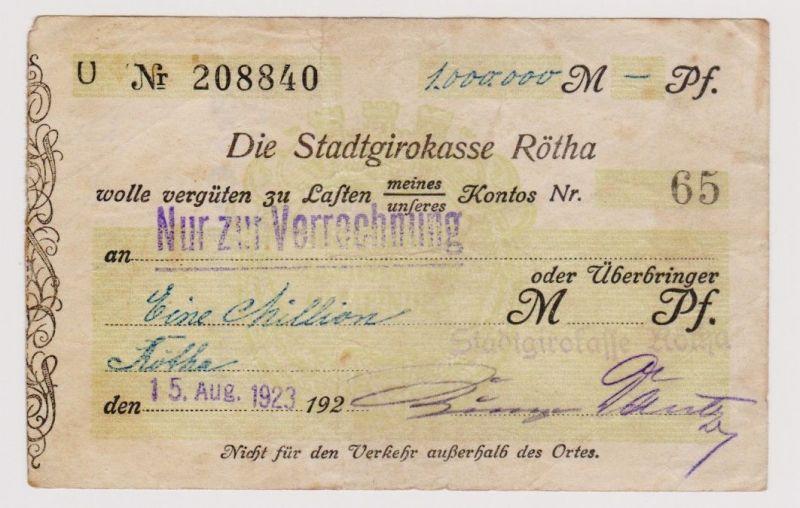 Firmenscheck 1 Million Mark Banknote Stadtgirokasse Rötha 10.8.1923 (120381)