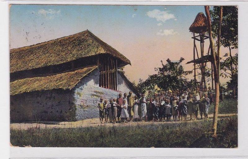 19621 Ak Usaa Tansania Kirche und Schulhaus am Kilimandscharo Deutsch Ost Afrika