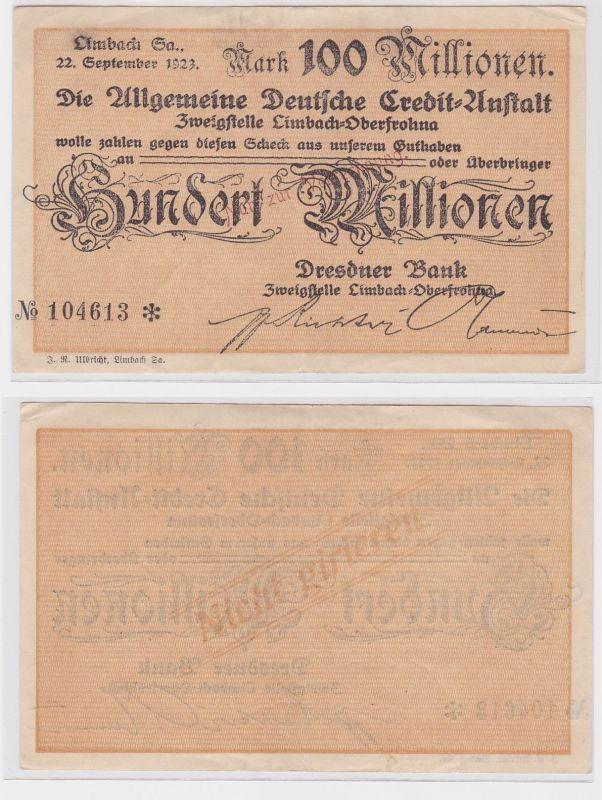 100 Millionen Mark Banknote allg. dt. Credit Anstalt Limbach 22.9.1923 (121491)