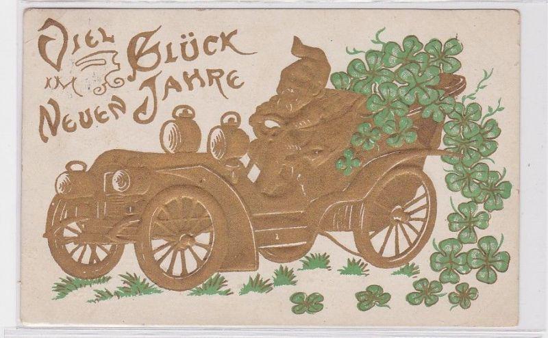 90585 Neujahrs Präge Ak Zwerg in goldenem Automobil mit Kleeblättern 1927