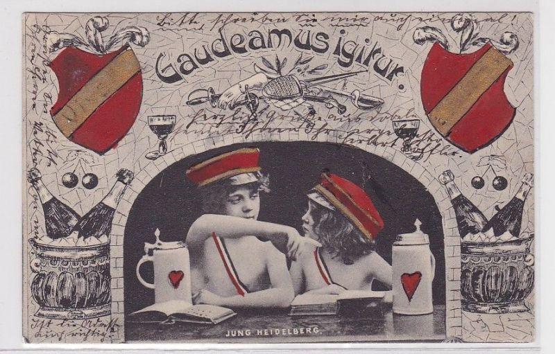 90821 Studentika Humor Ak Gaudeamusigitur Jung Heidelberg 1903