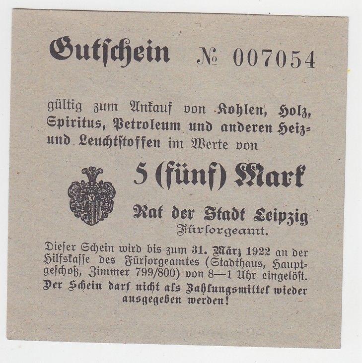 5 Mark Kohle Holz Gutschein Stadt Leipzig 31.März 1923 (120605)