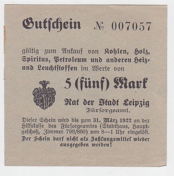5 Mark Kohle Holz Gutschein Stadt Leipzig 31.März 1923 (120450)