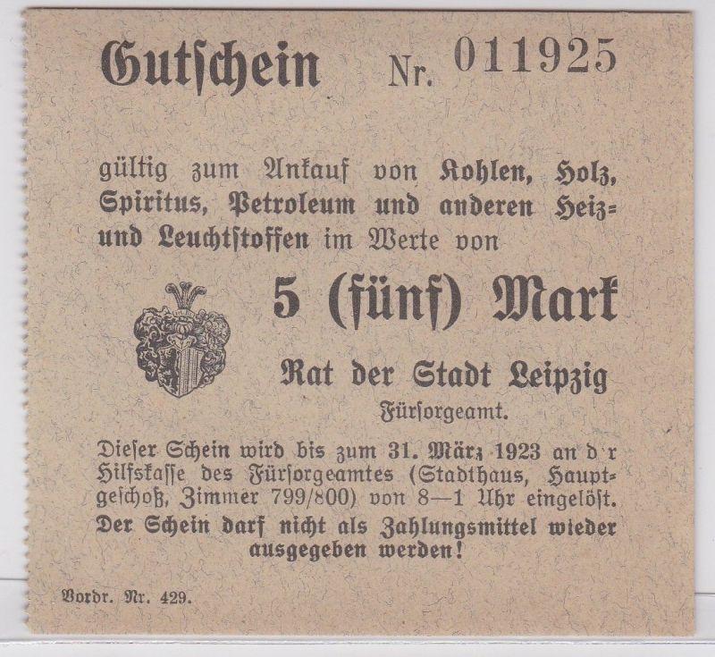 5 Mark Kohle Holz Gutschein Stadt Leipzig 31.März 1923 (120658)