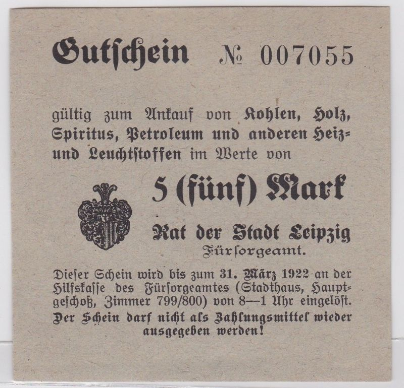 5 Mark Kohle Holz Gutschein Stadt Leipzig 31.März 1923 (120702)