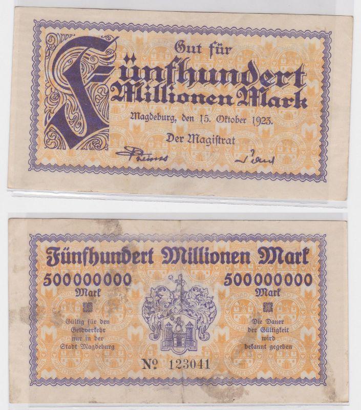 500 Millionen Mark Banknote Stadt Magdeburg 15.10.1923 (122045)