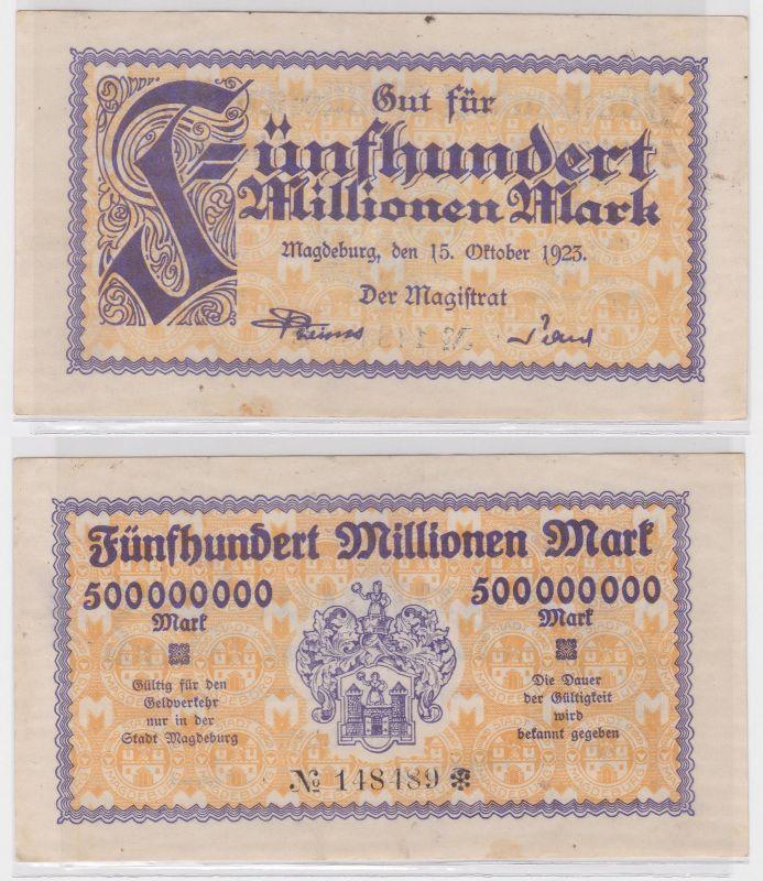 500 Millionen Mark Banknote Stadt Magdeburg 15.10.1923 (122079)