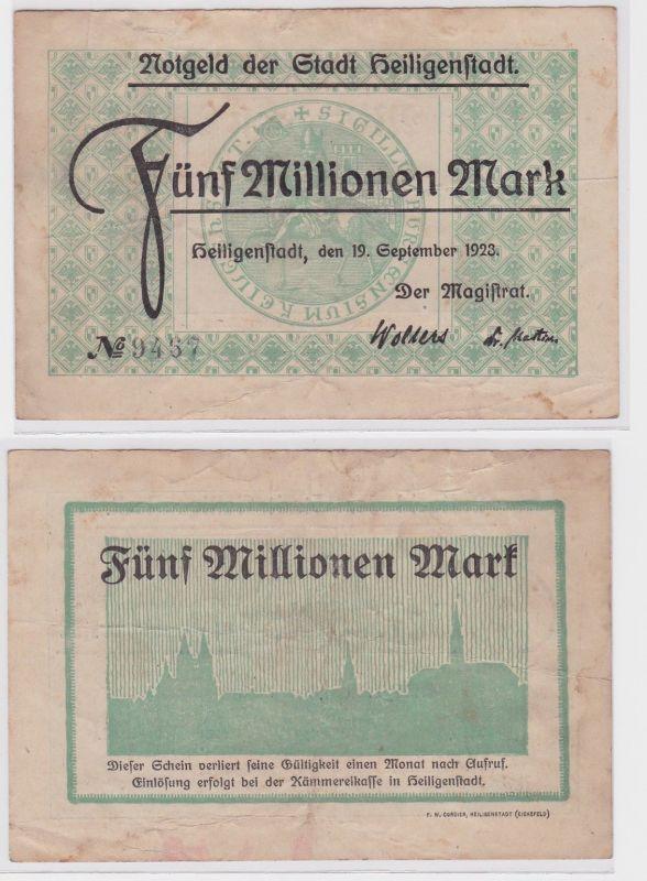 5 Millionen Mark Banknote Stadt Heiligenstadt 19.9.1923 (122128)