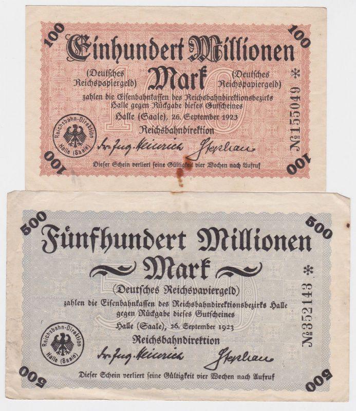 100 & 500 Millionen Mark Banknoten Reichsbahndirektion Halle 1923 (120604)