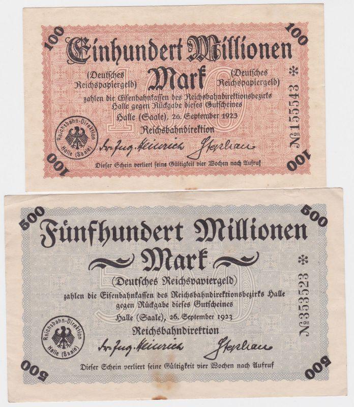 100 & 500 Millionen Mark Banknoten Reichsbahndirektion Halle 1923 (120456)