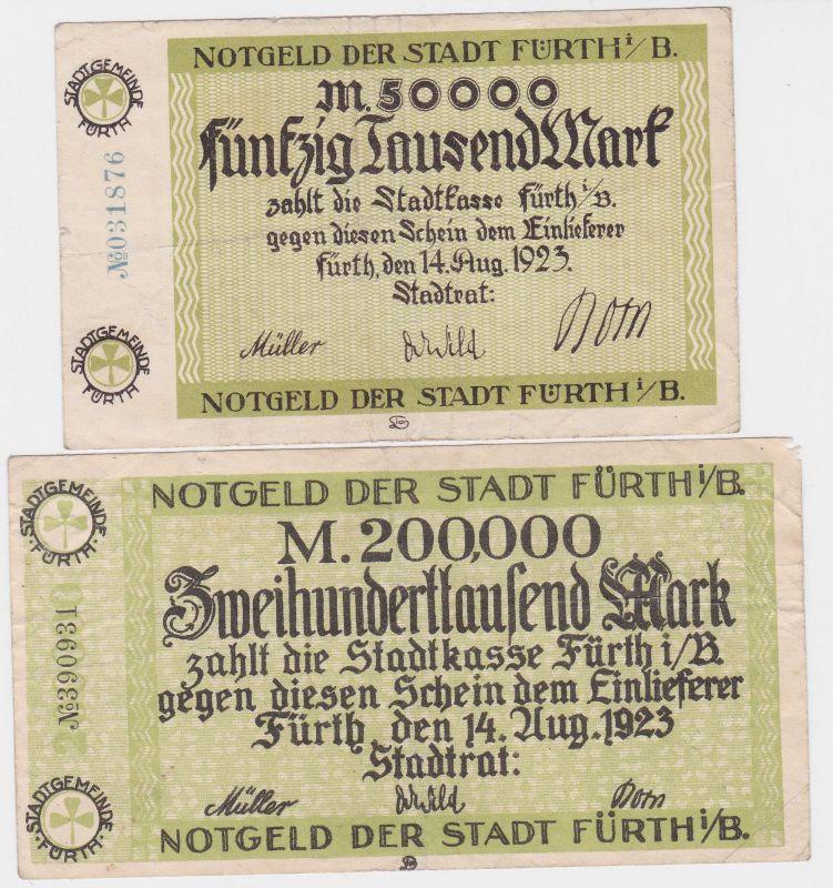 50 & 200 Tausend Mark Banknoten Stadt Fürth i.B. 14.8.1923 (120493)