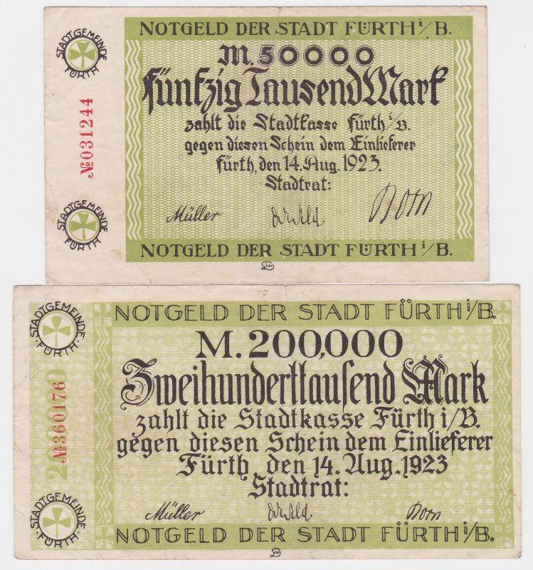 50 & 200 Tausend Mark Banknoten Stadt Fürth i.B. 14.8.1923 (120534)