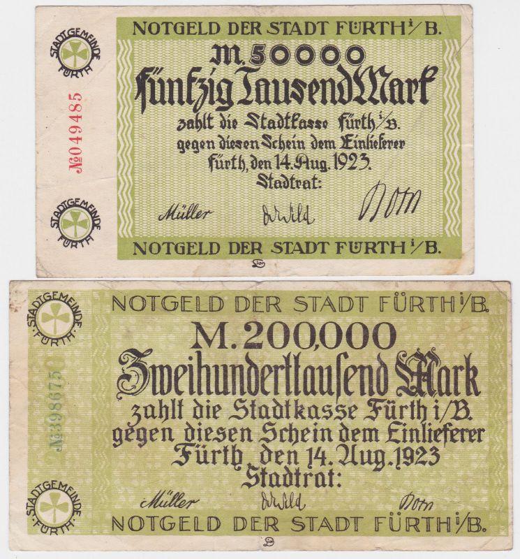 50 & 200 Tausend Mark Banknoten Stadt Fürth i.B. 14.8.1923 (120488)