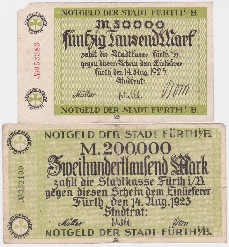50 & 200 Tausend Mark Banknoten Stadt Fürth i.B. 14.8.1923 (120492)
