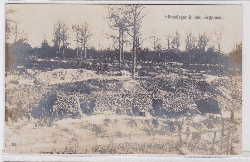 79793 Feldpost Foto AK Hüttenlager in den Argonnen 1.Weltkrieg Westfront 1916