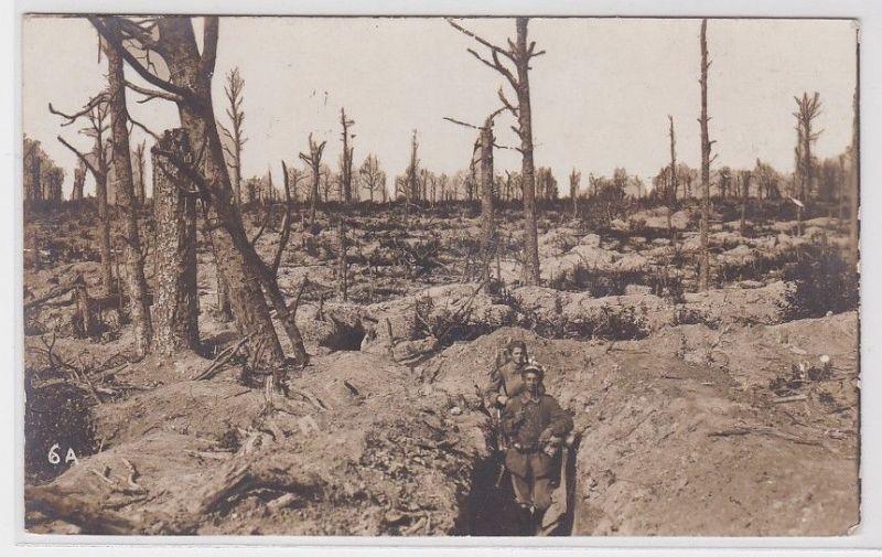 67909 Feldpost Foto AK Soldaten Lanzer im Schützengraben 1. WK Westfront 1916