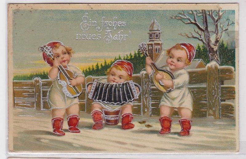 85565 Glückwunsch AK Ein frohes neues Jahr, Kinder spielen ...