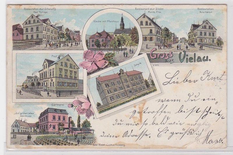88831 Lithografie AK Gruss aus Vielau, Post Restaurant Kirche Gärtnerei & Schule