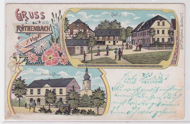 88830 Lithografie AK Gruss aus Röthenbach im Vogtl. Gasthof Schule & Kirche 1909