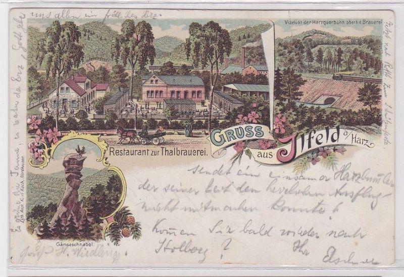 08886 Lithografie AK Gruss aus Ilfeld a.Harz, Restaurant Gänseschnabel & Viadukt
