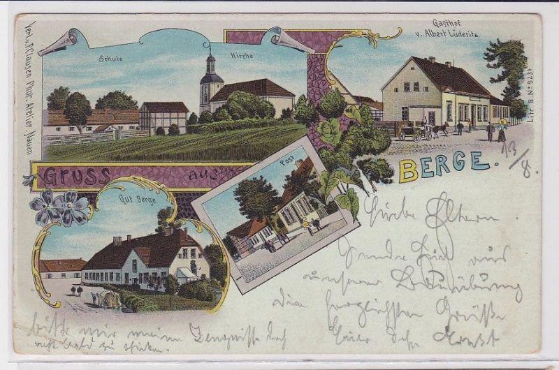 88698 Lithografie AK Gruss aus Berge - Gasthof, Schule, Kirche, Post & Gut 1902 0