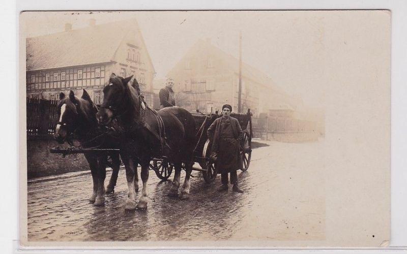 92205 Foto Ak Geithain ? Bauern mit Pferdefuhrwerk um 1920 0