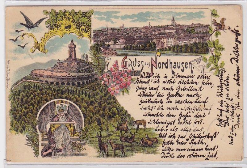 84034 Lithografie AK Gruss aus Nordhausen - Totalansicht & Kyffhäuser 1896 0