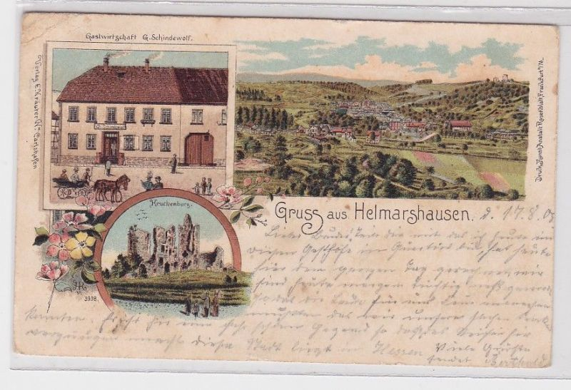 89496 AK Gruss aus Helmarshausen - Kruckenburg, Gastwirtschaft G.Schindewolf 0