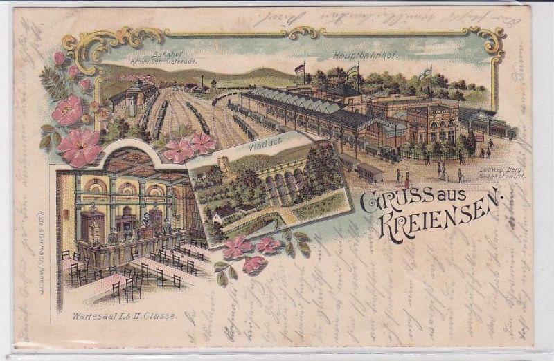 77015 AK Gruss aus Kreiensen - Hauptbahnhof Viaduct Wartesaal I & II Classe 1900 0