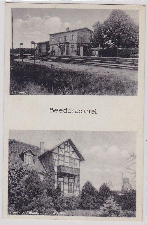 91418 Mehrbild AK Beedenbostel - Bahnhof, Café & Pensionshaus Wolter 0