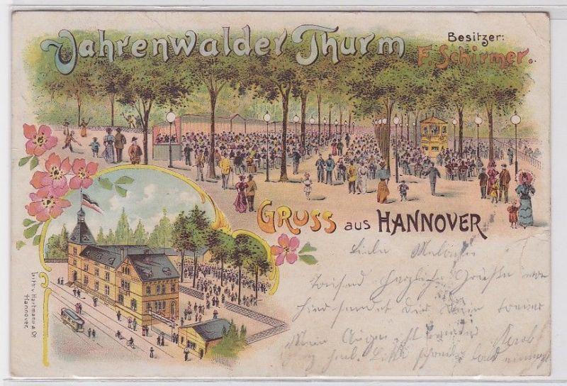 73127 Lithografie AK Gruss aus Hannover - Vahrenwalder Thurm F.Schirmer 1899 0