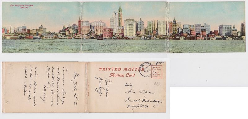 87003/ 3fach Klapp Ak New York Water Front from Jersey City 1912 0