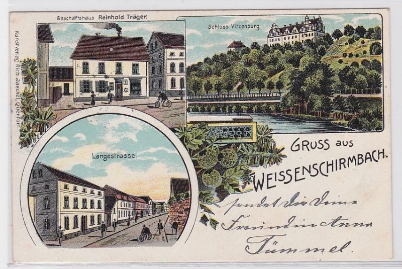 88693 AK Gruss aus Weissenschirmbach - Geschäftshaus & Schloss Vitzenburg 1911 0