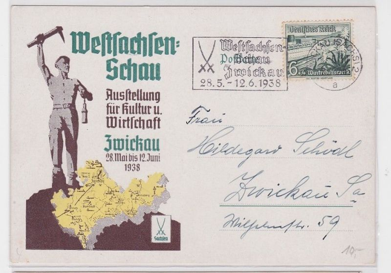 89723 Ak Zwickau Ausstellung für Kultur & Wirtschaft Westsachsen Schau 1938 0