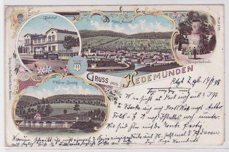 73326 Lithografie AK Gruss aus Hedemünden - Bahnhof Kriegerdenkmal & Brücke 1898 0