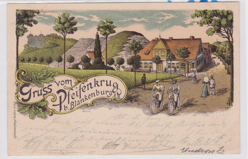 85118 Lithografie AK Gruss vom Pfeifenkrug b. Blaneknburg a.Harz, Radpartie 1898 0