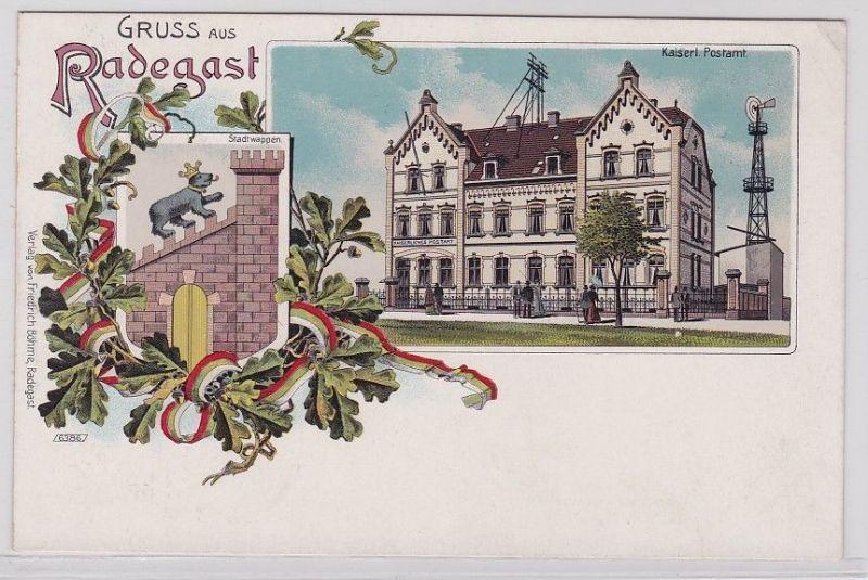 90524 AK Gruss aus Radegast - Kaiserliches Postamt & Stadtwappen um 1900 0