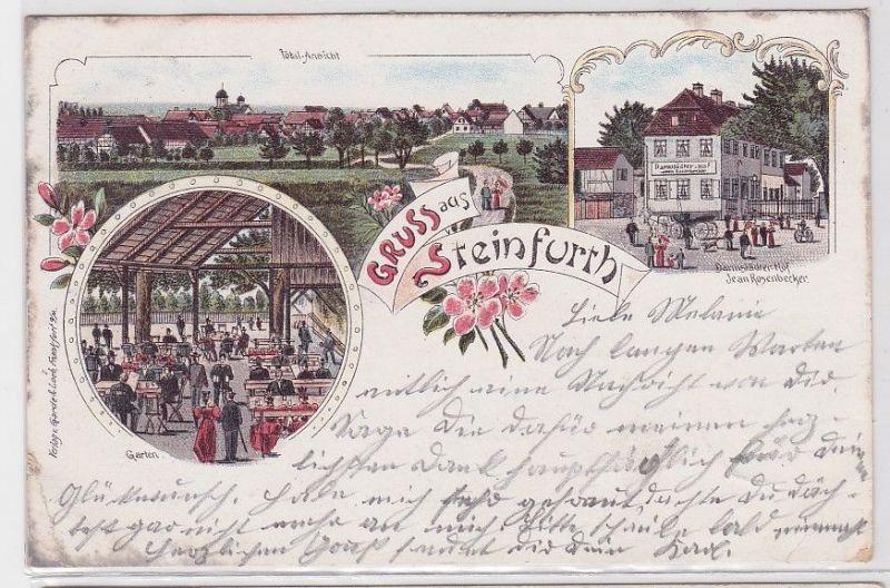 78326 Lithografie AK Gruss aus Steinfurth - Darmsädter Hof Totalansicht & Garten 0