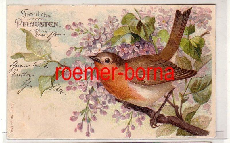 81260 geprägte Ak Fröhliche Pfingsten. Rotkehlchen in blühendem Flieder 1905 0