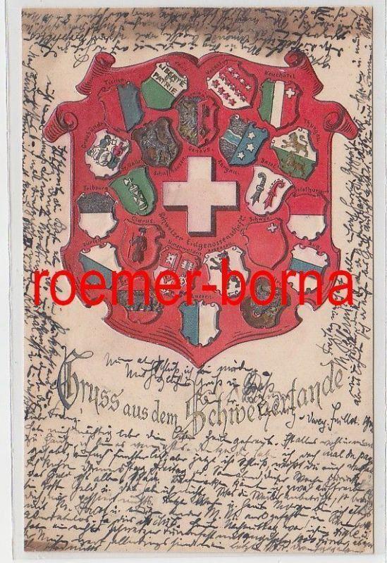 73938 Wappen Präge Ak Gruss aus dem Schweizerlande 1902 0