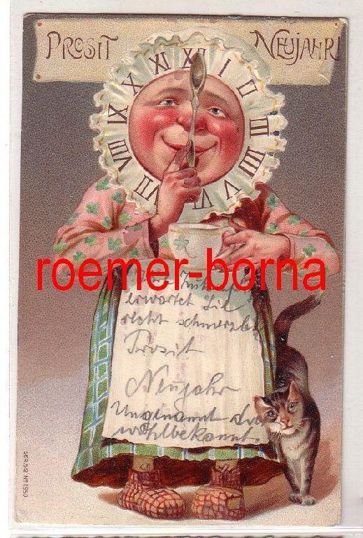 81147 geprägte Ak Prosit Neujahr! Oma mit Haube als Uhr gestaltet 1910 0