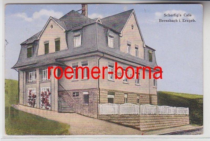 74144 Feldpost Ak Bernsbach im Erzgebirge Scherfigs Café 1915 0