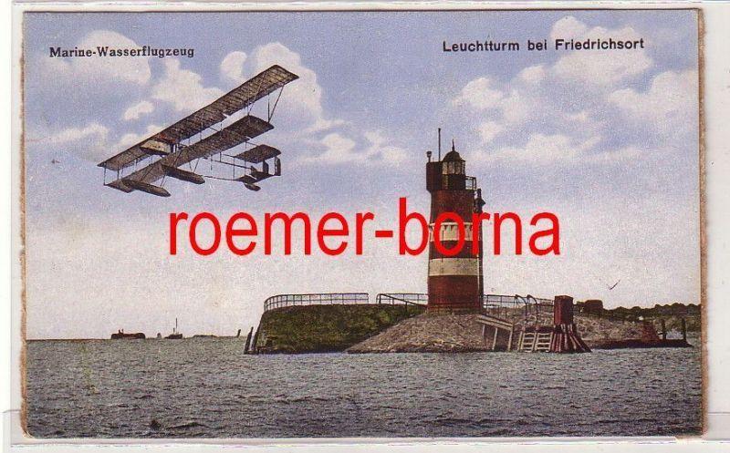 81265 Ak Leuchtturm bei Friedrichsort mit Marine-Wasserflugzeug 1924 0
