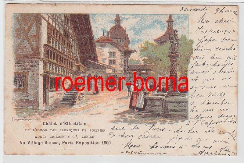 73707 Ak Lithographie Paris Exposition 1900 Chalet d`Effretikon Au Village Suiss 0