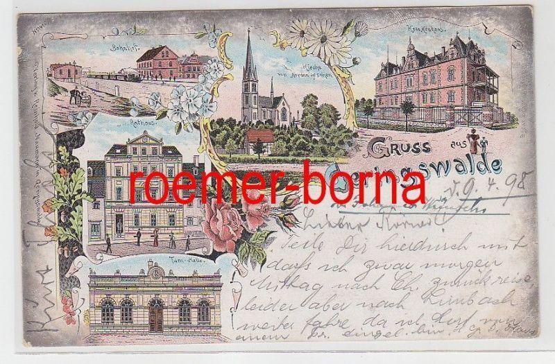 74886 Ak Lithografie Gruss aus Geringswalde Bahnhof, Krankenhaus usw. 1898 0