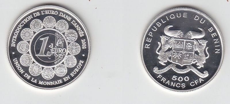 500 Franc Silber Münze Benin Einführung des Euro in Europa 2002 (113681) 0