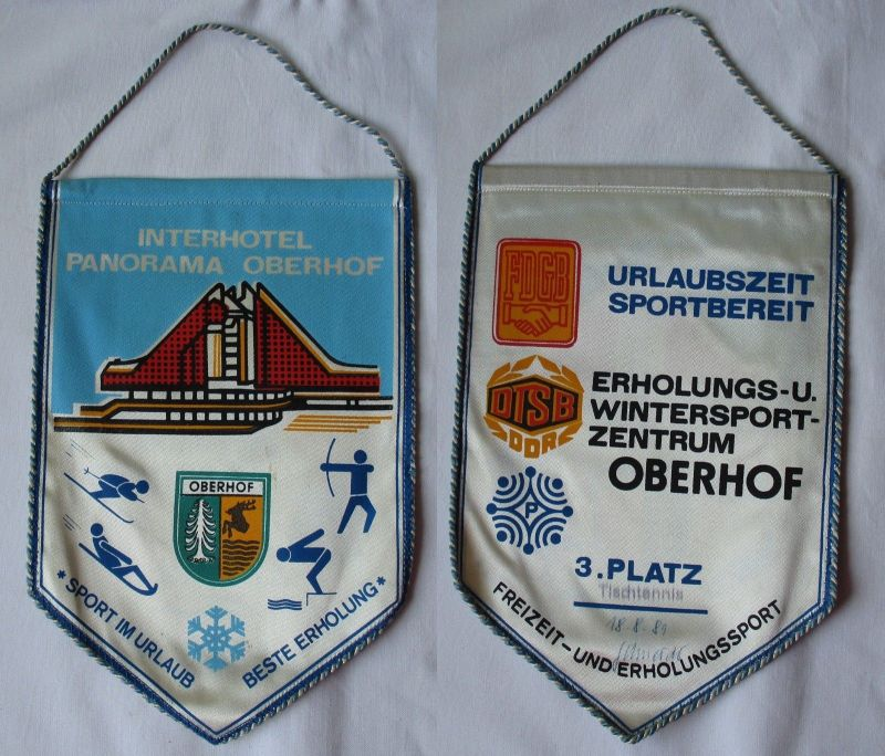Original DDR Wimpel Interhotel Panorama Oberhof - 3. Platz Tischtennis (102738) 0