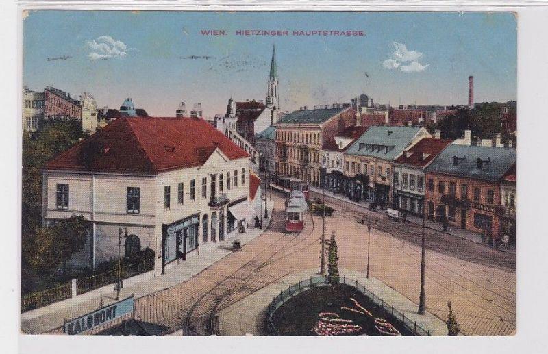 92322 Ak Wien Hietzinger Hauptstrasse mit Strassenbahn 1928 0